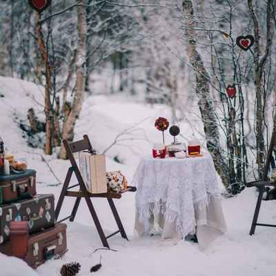 Winter brown photo session decor