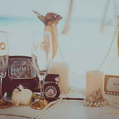 Gold wedding photo session decor