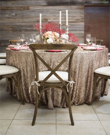 Gold wedding reception decor
