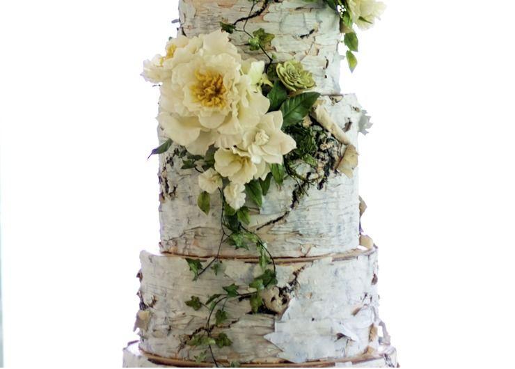 White Birch Wedding Cake