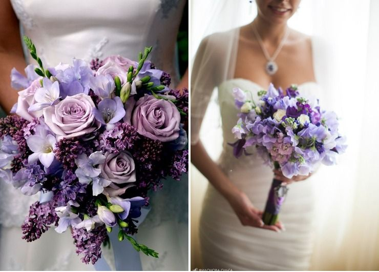 Spring purple vials wedding bouquet