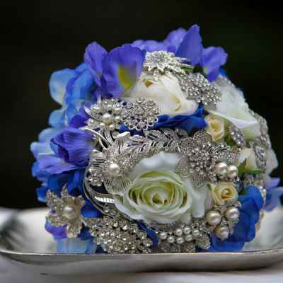 Vintage blue alternative wedding bouquet