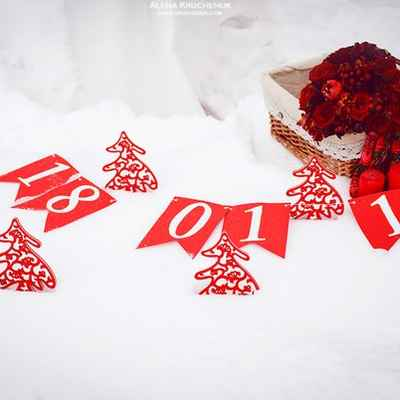 Winter red wedding signs