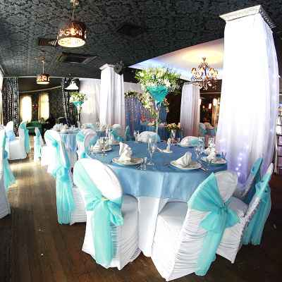Breakfast at tiffany's blue wedding reception decor