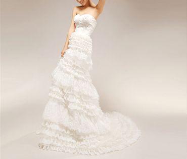 Mediterranean long train wedding dresses