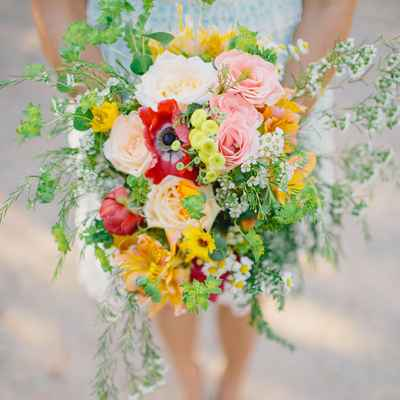 Rustic summer alstroemeria wedding bouquet