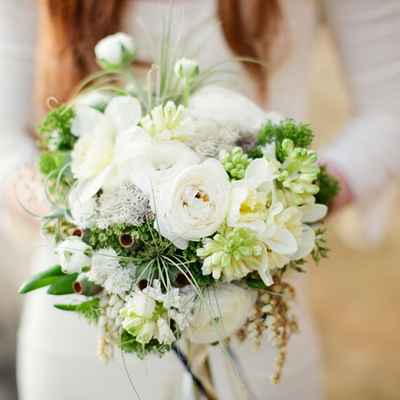 Rustic white rose wedding bouquet