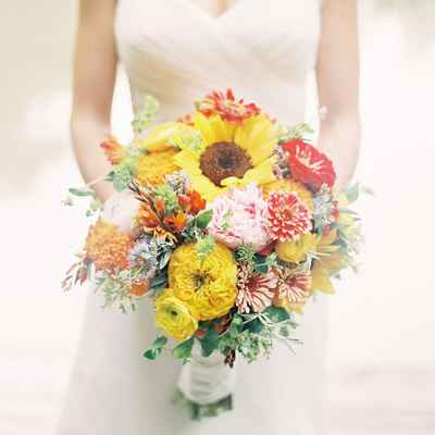 Autumn yellow peony wedding bouquet
