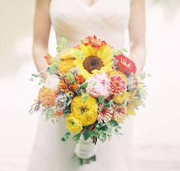 Autumn yellow peony wedding bouquet