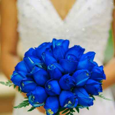 Marine blue rose wedding bouquet