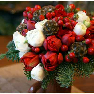 Winter red tulip wedding bouquet