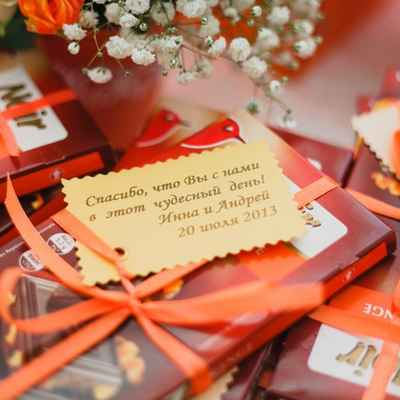 Orange wedding favours
