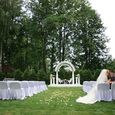 Outdoor summer wedding ceremony decor