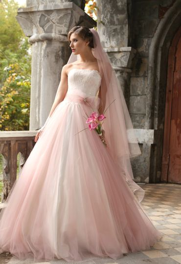 French pink corset wedding dresses