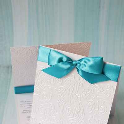 Breakfast at tiffany's white wedding invitations