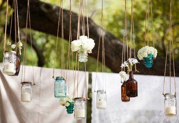 Rustic blue wedding floral decor