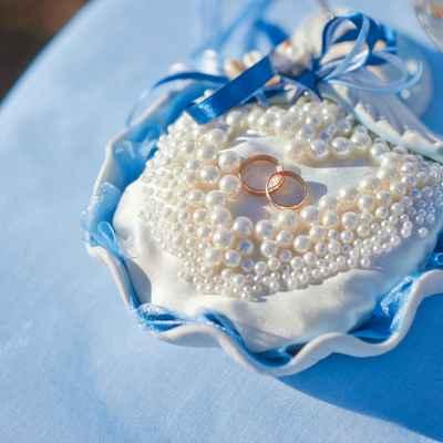 Marine blue wedding ring pillows
