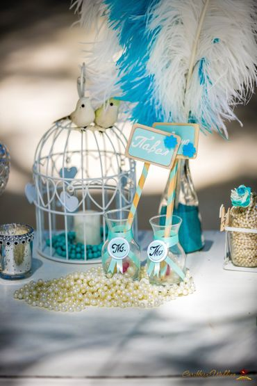 Breakfast at tiffany's blue wedding signs
