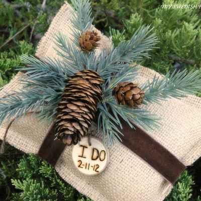 Winter brown wedding ring pillows