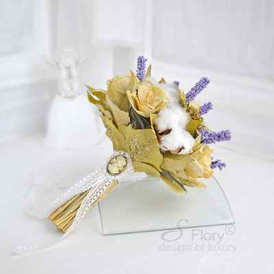 Gold alternative wedding bouquet