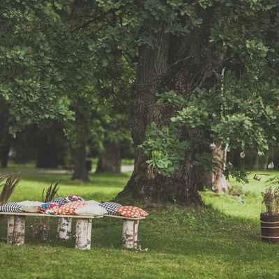 Rustic summer wedding ceremony decor