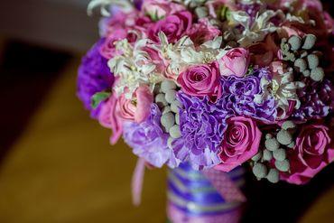 Purple carnation wedding bouquet