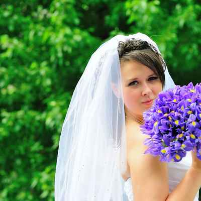Summer purple iris wedding bouquet