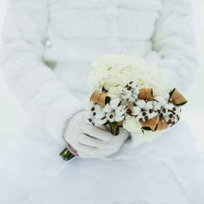 Winter brown carnation wedding bouquet