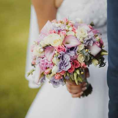 Pink calla wedding bouquet