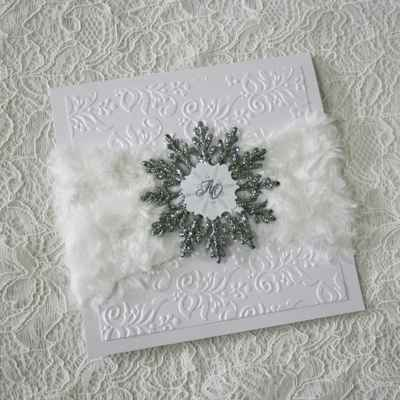 Winter white wedding invitations