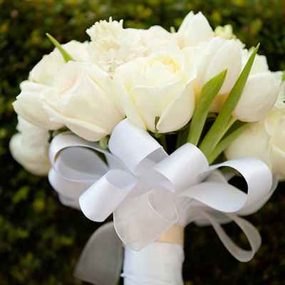 Spring white tulip wedding bouquet