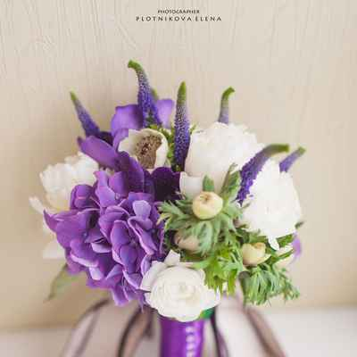 Purple hydrangea wedding bouquet