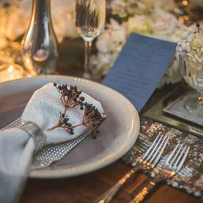 English grey wedding reception decor