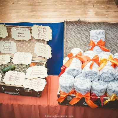 Brown wedding reception decor