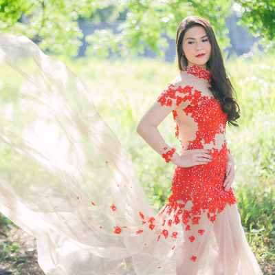 Red short sleeve wedding dresses