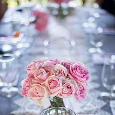 Grey wedding reception decor