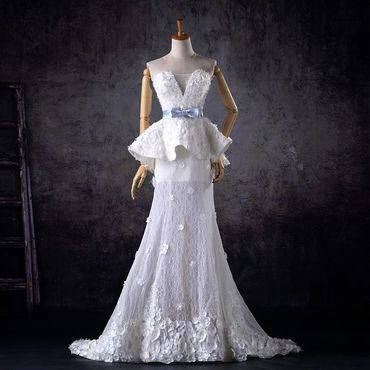 European white long wedding dresses