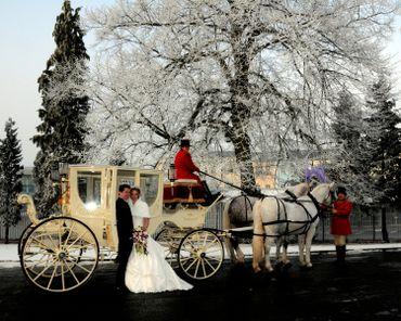 Winter wedding transport decor