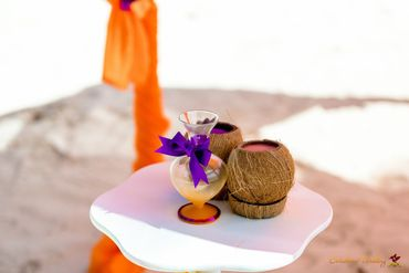 Beach orange wedding photo session decor