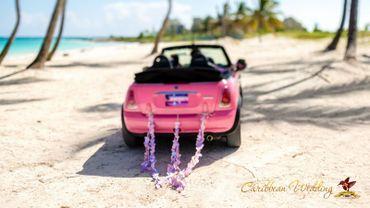 Overseas pink wedding transport