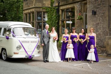 Vintage blue wedding transport