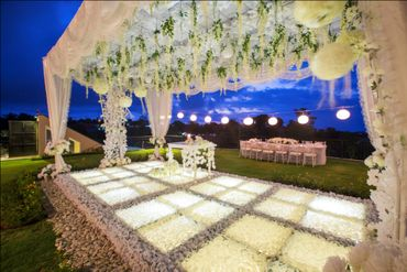 White wedding ceremony decor