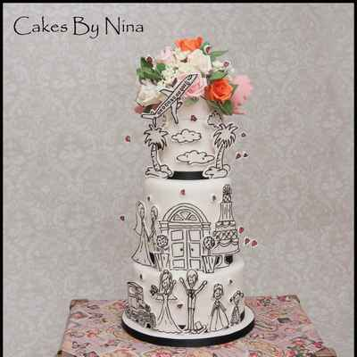 Themed white wedding cakes