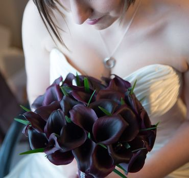 Black calla wedding bouquet