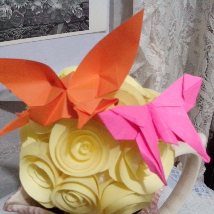 Origami Paper Flowers and Butterflies