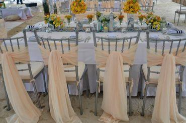 Marine ivory wedding reception decor