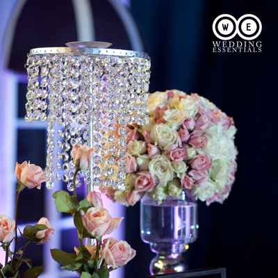 Themed white wedding reception decor