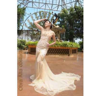 Gold long wedding dresses