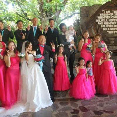 Pink kids at wedding