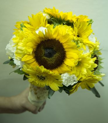 Yellow gerbera wedding bouquet